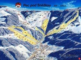 Mapa lyžařského střediska Pec pod Sněžkou