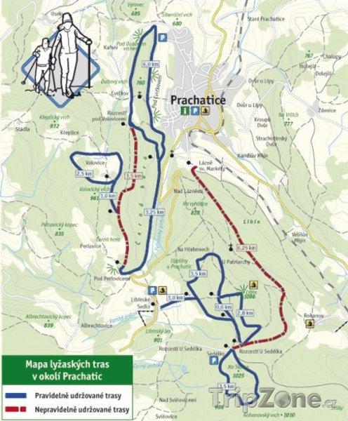 Fotka, Foto Mapa lyžařského střediska Prachatice - Libínské Sedlo