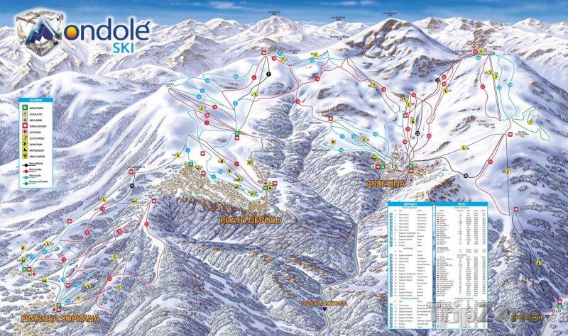 Fotka, Foto Mapa lyžařského střediska Prato Nevoso