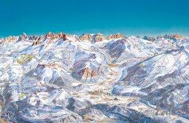 Mapa lyžařského střediska Val di Fiemme