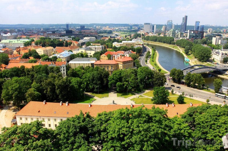 Fotka, Foto Panorama města s řekou Neris (Vilnius, Litva)
