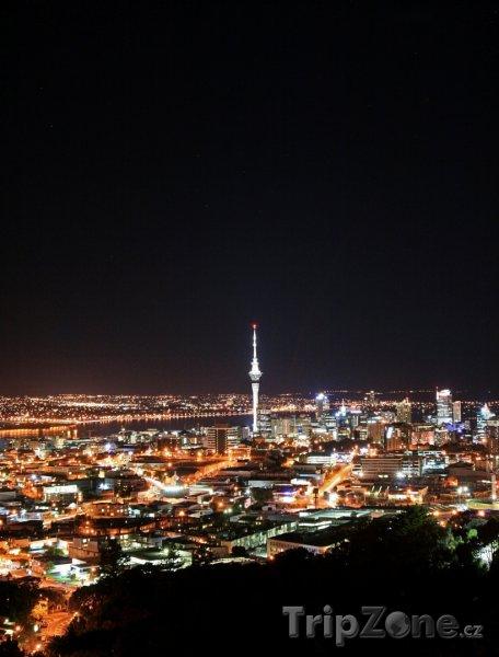 Fotka, Foto Panorama nočního města (Auckland, Nový Zéland)