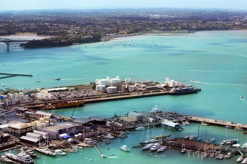 Fotka, Foto Pohled na přístav ze Sky Tower (Auckland, Nový Zéland)