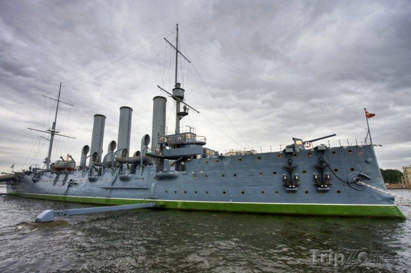 Fotka, Foto Zakotvený křižník Aurora (Petrohrad, Rusko)