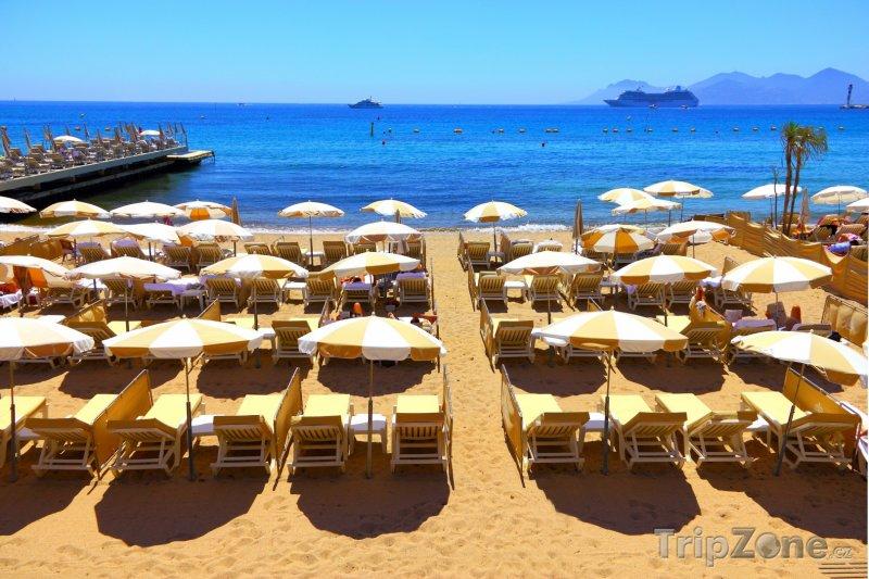 Fotka, Foto Cannes, lehátka a slunečníky na pláži (Francie)