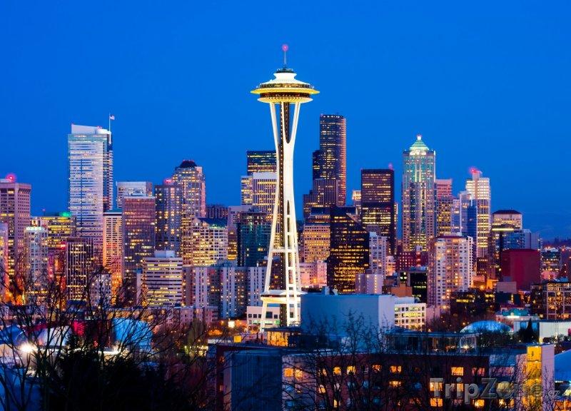 Fotka, Foto Centrum Seattlu v noci (USA)