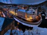 Karlovy Vary, noc v zimě