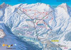Mapa lyžařského střediska Bosco Gurin