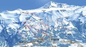 Mapa lyžařského střediska Crans-Montana-Aminona