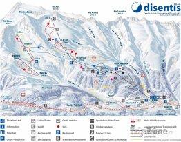 Mapa lyžařského střediska Disentis