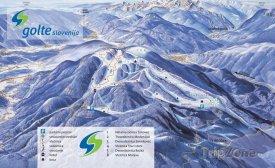 Mapa lyžařského střediska Golte