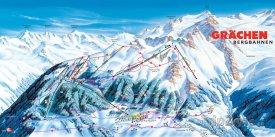 Mapa lyžařského střediska Grächen