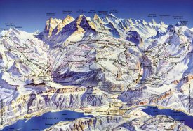 Mapa lyžařského střediska Jungfrau Region