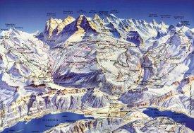 Mapa lyžařského střediska Lauberhorn-Wengen