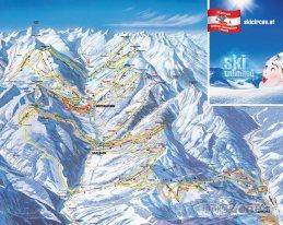 Mapa lyžařského střediska Saalbach Hinterglemm Leogang