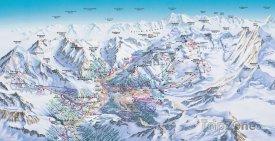 Mapa lyžařského střediska Saas-Fee