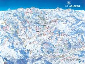 Mapa lyžařského střediska St. Anton