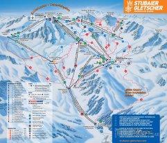 Mapa lyžařského střediska Stubaier Gletscher