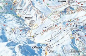 Mapa lyžařského střediska Stuben