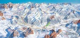 Mapa lyžařského střediska Val di Fassa