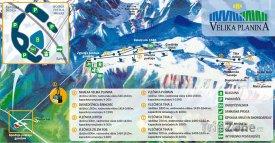 Mapa lyžařského střediska Velka Planina