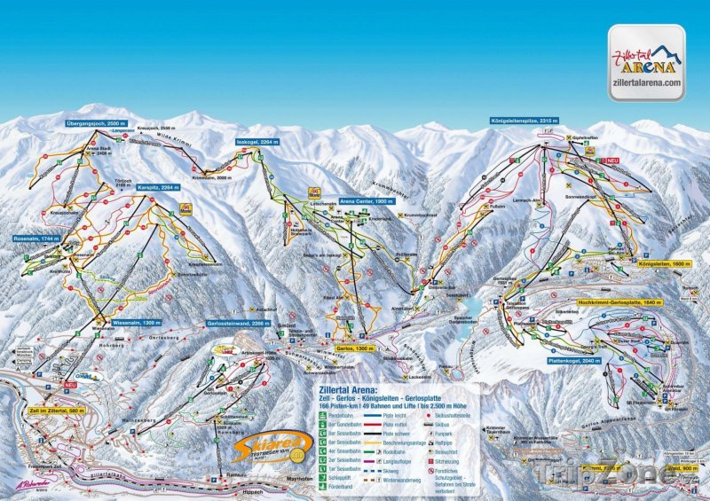 Fotka, Foto Mapa lyžařského střediska Zillertal Arena
