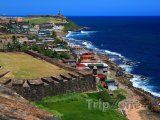 San Juan, pohled na pobřeží z opevnění La Perla