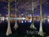 Centrum města a jezero Eola v noci