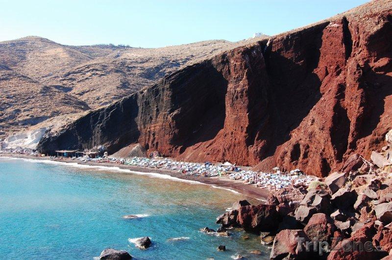 Fotka, Foto Červená pláž v Akrotiri na ostrově Santorini (Řecko)
