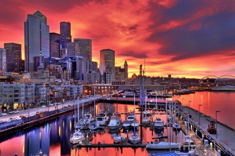 Fotka, Foto Nábřeží v západu slunce (Seattle, USA)