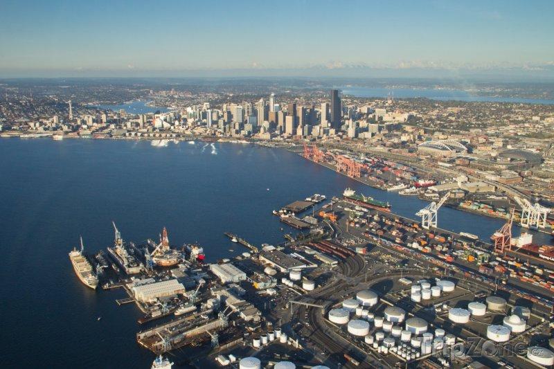 Fotka, Foto Pohled na Elliot Bay a přístav (Seattle, USA)