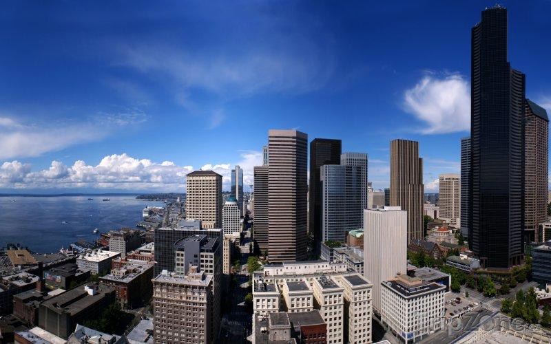 Fotka, Foto Pohled na město ze Smith Tower (Seattle, USA)