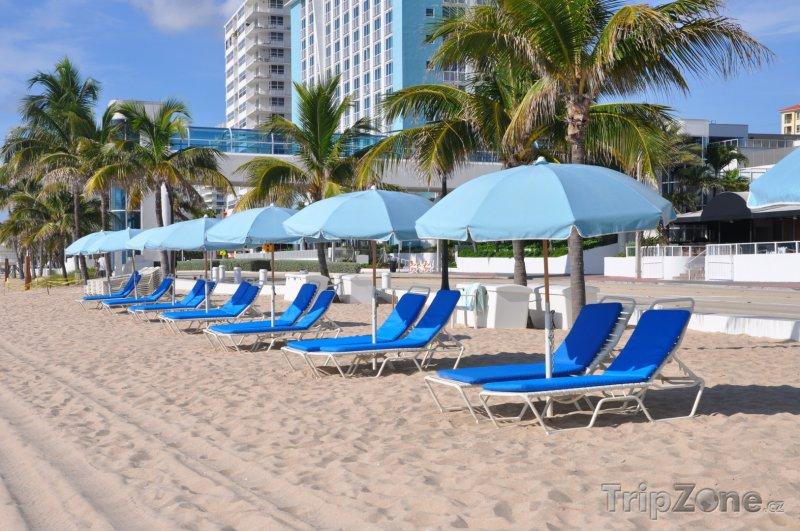 Fotka, Foto Slunečníky a lehátka na pláži (Fort Lauderdale, USA)