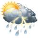 Slabé dešťové přeháňky a hrom