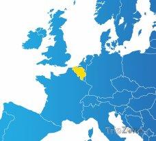 Poloha Belgie na mapě Evropy