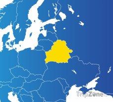 Poloha Běloruska na mapě Evropy