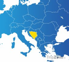 Poloha Bosny a Hercegoviny na mapě Evropy