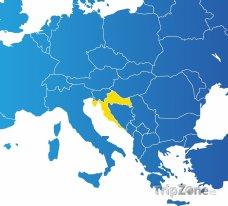 Poloha Chorvatska na mapě Evropy