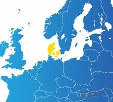 Poloha Dánska na mapě Evropy