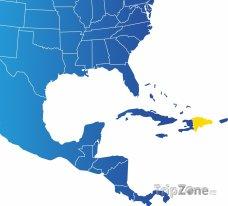 Poloha Dominikánské republiky na mapě Severní Ameriky
