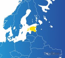 Poloha Estonska na mapě Evropy