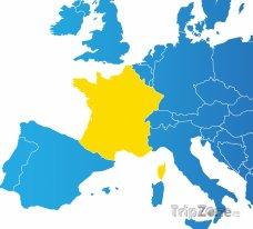 Poloha Francie na mapě Evropy