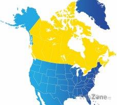 Poloha Kanady na mapě Severní Ameriky