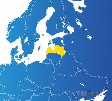 Poloha Lotyšska na mapě Evropy
