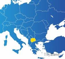 Poloha Makedonie na mapě Evropy