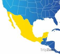 Poloha Mexika na mapě Severní Ameriky