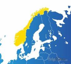 Poloha Norska na mapě Evropy