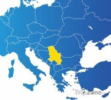 Poloha Srbska na mapě Evropy