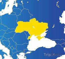 Poloha Ukrajiny na mapě Evropy