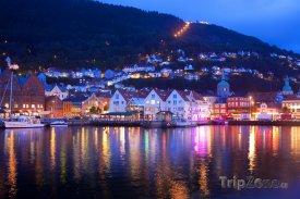 Noční panorama v Bergenu
